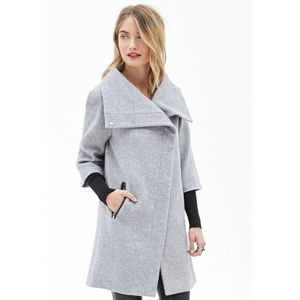 Forever 21 Heathered Double Sleeve Cocoon Coat S